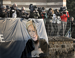 May 5, 2017 - Ennemain, France - Media, photographers, French presidential candidate Marine Le Pen at her last rally before the elections (Credit Image: © Aftonbladet/IBL via ZUMA Wire)
