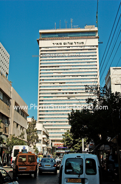 Israel, The 39 story Shalom towers in the heart of down town Tel Aviv as seen from south from Hertzl street
