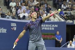 September 6, 2017 - New York, New York, United States - Juan Martin del Potro of Argentina serves during match against Roger Federer of Switzerland at US Open Championships at Billie Jean King National Tennis Center  (Credit Image: © Lev Radin/Pacific Press via ZUMA Wire)