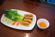 Eggrolls, Pho Saigon Noodle House, Milpitas, Calif.  Photo by Stan Olszewski/SOSKIphoto.