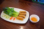 Eggrolls, Pho Saigon Noodle House, Milpitas, Calif.  Photo by Stan Olszewski/SOSKIphoto.