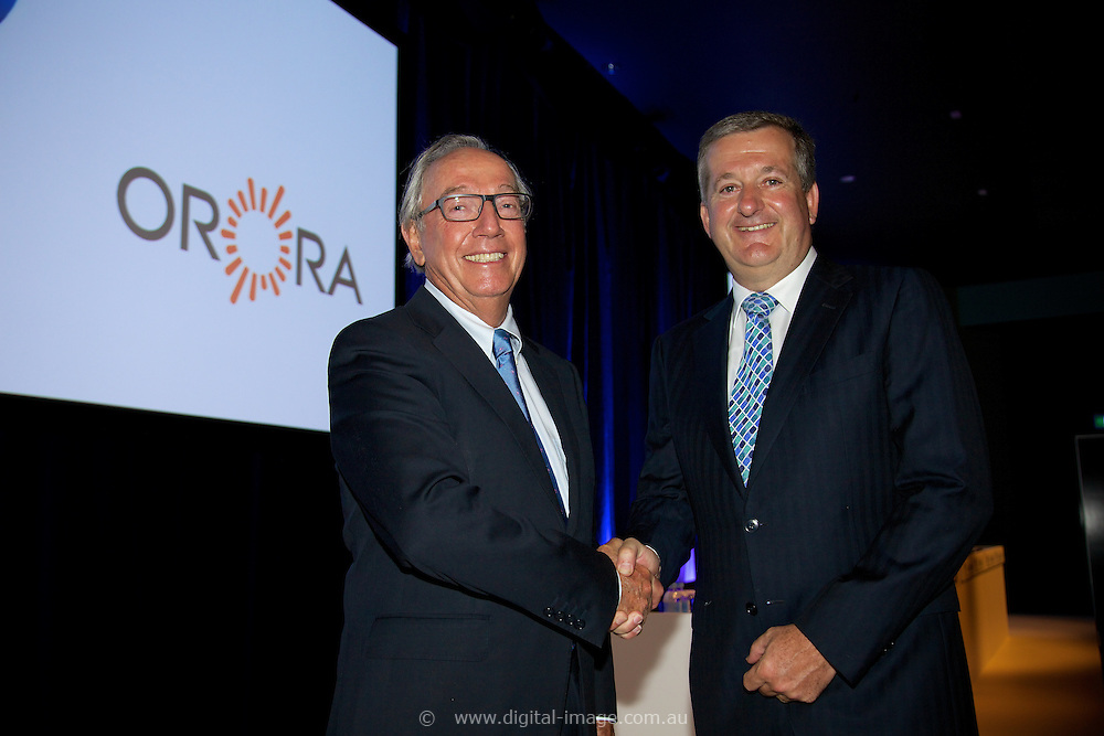 Amcor EGM and GM to discuss and vote on the demerger of Amcor and Orora. At the Melbourne Convention and Exhibition Centre. Out going Amcor<br /> Chairman New Orora Chairman, Chris Roberts, CEO Orora Nigel Garrard