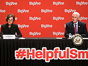 08 MAY 2020 - WEST DES MOINES, IOWA: Iowa Governor KIM REYNOLDS (left) and Vice President MIKE PENCE are socially distanced while they talk about the security of the food supply chain at Hy-Vee corporate headquarters Friday. He visited Hy-Vee, a regional grocery store chain, to talk about the security of the food supply system. The Governor of Iowa started reopening businesses in the state even though coronavirus (SAR-CoV-2) infections are continuing to rise. President Trump signed an executive order on April 28 to compel meat packing plants to stay open as a part of critical infrastructure, but in Iowa many plants remain closed. The meat packing industry is the main source of COVID-19 infections in rural parts of Iowa. Iowa has recorded 11,457 cases of  COVID-19 and 243 deaths caused by virus.         PHOTO BY JACK KURTZ