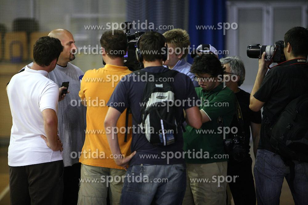 Coach Aleksandar Dzikic interviewed at first open practice of KK Union Olimpija in the new season 2008/2009, on August 21, 2008 in Hala Tivoli, Ljubljana, Slovenia. (Photo by Vid Ponikvar / Sportal Images)