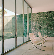Barcelona Chairs, designed by architect and designer Ludwig Mies van der Rohe, inside the Barcelona Pavillion (also designed by him), in Barcelona, Spain