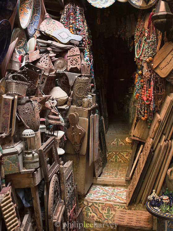 A shop selling old furniture and antiques in the medina of Fes, Morocco