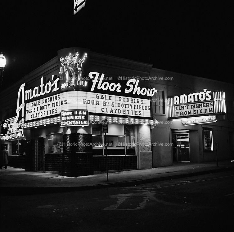Y-580425-1.  Amato's Supper Club, 706 SW Main, southwest corner of Broadway & Main. April 25, 1958. The PCPA Portland Center for the Performing Arts is presently on the site.