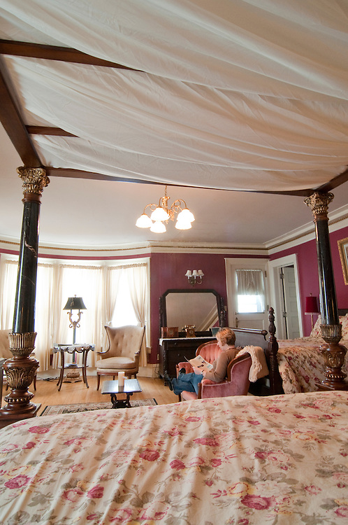 A guest room at the Laurium Manor Inn in Laurium Michigan.