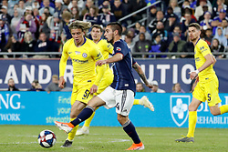 May 15, 2019 - Foxborough, MA, U.S. - FOXBOROUGH, MA - MAY 15: New England Revolution midfielder Diego Fagundez (14) moves the ball away from Chelsea FC midfielder Conor Gallagher (51) during the Final Whistle on Hate match between the New England Revolution and Chelsea Football Club on May 15, 2019, at Gillette Stadium in Foxborough, Massachusetts. (Photo by Fred Kfoury III/Icon Sportswire) (Credit Image: © Fred Kfoury Iii/Icon SMI via ZUMA Press)