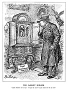 "The Cabinet Builder. ""Quite effective in its way! I hope the one I've just made will do as well."" (Churchill views Lloyd George's Small War Cabinet 1916-1918 in an antique shop)"