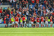 Bristol City players applaud their fans at the final whistle at the EFL Sky Bet Championship match between Cardiff City and Bristol City at the Cardiff City Stadium, Cardiff, Wales on 28 August 2021.
