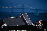 Herbie Hancock on Piano at JVC Newport Jazz Festival 2004 playing  with  Wayne shorter, Dave Holland, Brain Blade (not visible)