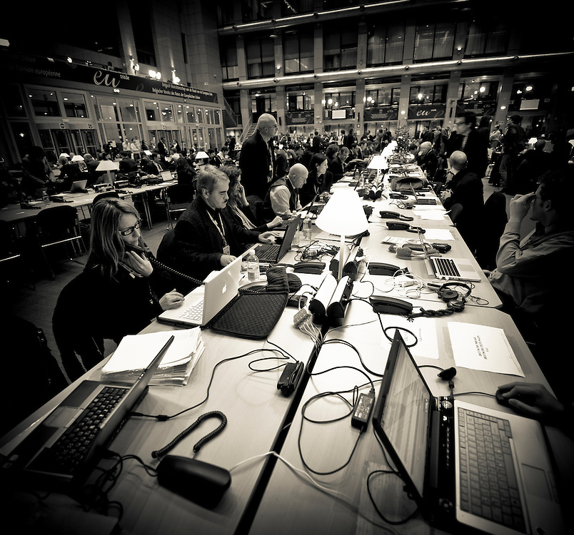 Brussels, Belgium 16 December 2010<br /> View of the press center at the European Union leaders summit in Brussels.<br /> Photo: SCORPIX /  Ezequiel Scagnetti