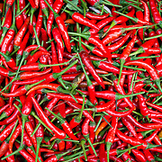 Detail of box of bright red chillies