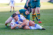Workington Town stand off Jamie Doran (6) breaks free to score the opening try of the game during the Ladbrokes Challenge Cup round 3 match between Hunslet Club Parkside and Workington Town at South Leeds Stadium, Leeds, United Kingdom on 24 February 2018. Picture by Simon Davies.