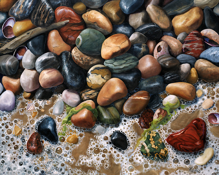 A collection of green and red orbicular jasper tossed among seaweed and beach foam will bring you back to the water's edge. <br /> SOLD.  Prints available upon request.