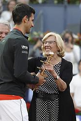 May 12, 2019 - Madrid, Spain - Novak Djokovic of Serbia celebrates victory in his men's singles final against Stefano Tsitsipas of Greece during day nine of the Mutua Madrid Open at La Caja Magica on May 12, 2019 in Madrid, Spain  (Credit Image: © Oscar Gonzalez/NurPhoto via ZUMA Press)