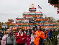 Thousands of visitors walked through the maze of pumpkins throughout downtown Laconia during Pumpkin Fest on Saturday.  (Karen Bobotas/for the Laconia Daily Sun)