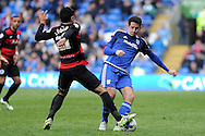 QPR's Massimo Luongo (l) and Cardiff City's Peter Whittingham challenge for the ball. Skybet football league championship match, Cardiff city v Queens Park Rangers at the Cardiff city stadium in Cardiff, South Wales on Saturday 16th April 2016.<br /> pic by Carl Robertson, Andrew Orchard sports photography.