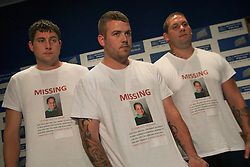 © licensed to London News Pictures. London, UK 06/08/2012. Missing 12-year-old Tia Sharp's uncle David Sharp (centre) and family friends Mark Havers (left) and Steven Subine (right) posing at the press conference in New Scotland Yard. Tia is being searched around Croydon area and she has been missing for nearly 3 days. Photo credit: Tolga Akmen/LNP