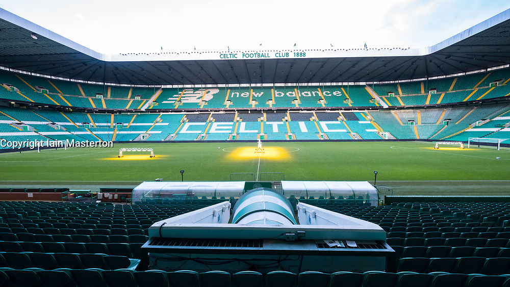 View of stands and pitch at Celtic Park home of Celtic Football Club in Parkhead , Glasgow, Scotland, United Kingdom