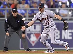 September 28, 2017 - Kansas City, MO, USA - The Detroit Tigers' John Hicks steals second as the throw to Kansas City Royals second baseman Whit Merrifield (15) goes high in the fourth inning at Kauffman Stadium in Kansas City, Mo., on Thursday, Sept. 28, 2017. (Credit Image: © John Sleezer/TNS via ZUMA Wire)