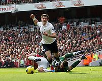 20120226: LONDON, UK - Barclays Premier League 2011/2012: Arsenal vs Tottenham.<br /> In photo: Tottenhams Gareth Bale goes down to win a penalty.<br /> PHOTO: CITYFILES