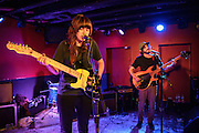 WASHINGTON, DC - February 19th, 2014 - Australian singer-songwriter Courtney Barnett (left) performs at DC9 in Washington, D.C. Barnett garnered critical buzz from Rolling Stone and Pitchfork after releasing a string of E.P.'s over the last two years. (Photo by Kyle Gustafson / For The Washington Post)