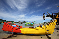 Fishing boats in Lhok seudu Village, where Oxfam had built shelter following the Indian Ocean Tsunami of Dec 2004, District Aceh Besar, Aceh Province, Sumatra, Indonesia