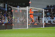 Sheffield Utd's George Long sees a shot go over the crossbar during the FA Cup with Budweiser, 3rd round, Aston Villa v Sheffield Utd match  at Villa Park in Birmingham, England on Saturday 4th Jan 2014.<br /> pic by Jeff Thomas, Andrew Orchard sports photography.