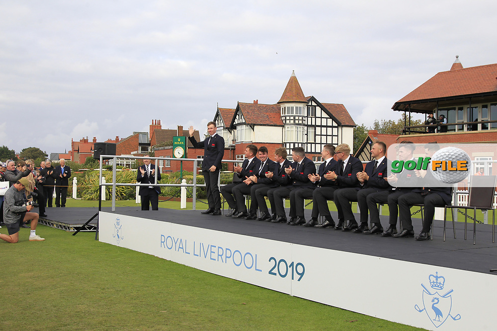 Euan Walker (GB&I) being introduced during the Official Opening of the Walker Cup, Royal Liverpool Golf CLub, Hoylake, Cheshire, England. 06/09/2019.<br /> Picture Thos Caffrey / Golffile.ie<br /> <br /> All photo usage must carry mandatory copyright credit (© Golffile   Thos Caffrey)