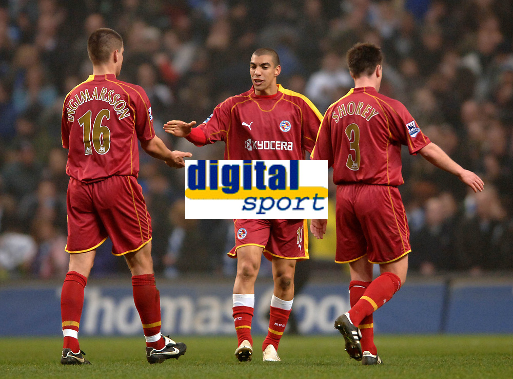 Photo: Paul Greenwood.<br />Man City v Reading. The Barclays Premiership. 03/02/2007. Reading's John Oster, centre, leads the celebrations at full time