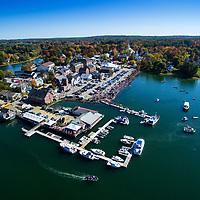 Aerial view of Damariscotta, Maine town center.