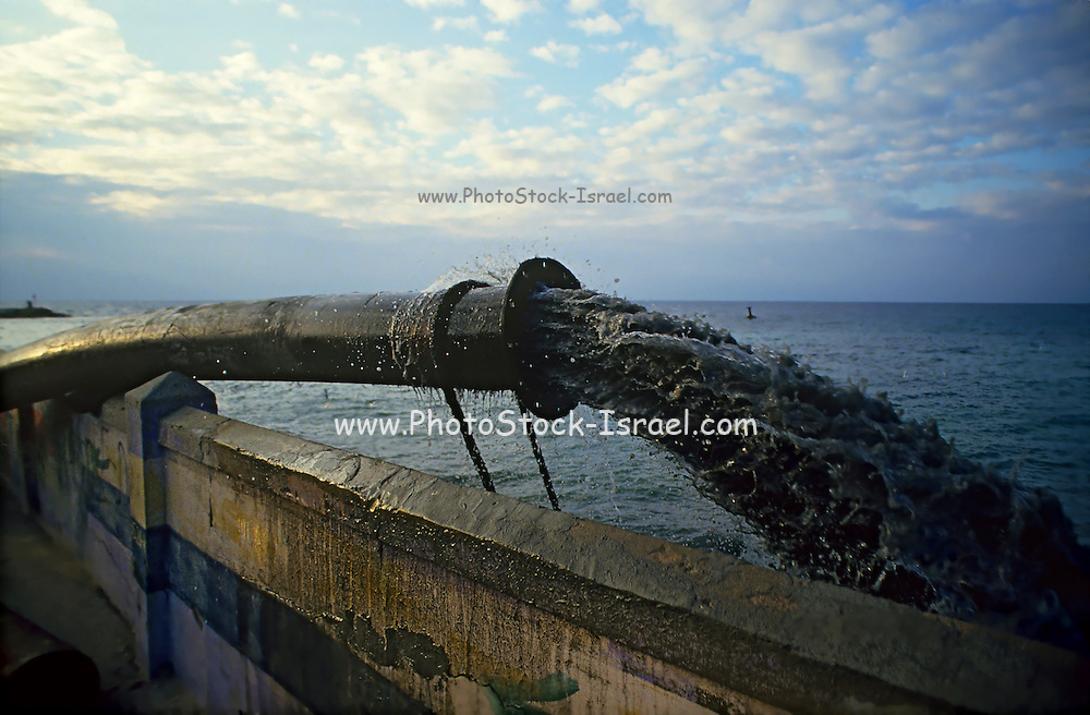 Marine pollution - surplus raw sewage is being pumped into the sea. Photographed in Israel