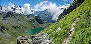 Hike the dramatic Sentier des Chamois from Verbier, in Switzerland, the Alps, Europe. The Chamois Path starts at La Chaux ski lift and ends at Fionnay PostBus. Cross Col Termin (2648m/8688 ft) in Haut Val de Bagnes nature reserve and descend to Lake Louvie via 1800s stone barns to the north, then to Fionnay (640 m up, 1415 m down in 8.5 hours). Along the way, we admired a group fighting of Hérens cows, ibex with huge horns, and the glaciers of Grand Combins. Optionally stay overnight in dorms Cabane de Louvie. This image was stitched from multiple overlapping photos.