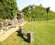 Norman motte and bailey castle with Victorian building ruin Eye, Suffolk, England, UK