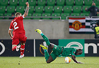 RAZGRAD, BULGARIA - OCTOBER 22: Elvis Manu of Ludogorets goes down after the duel against De Laet of Antwerp during the UEFA Europa League Group J stage match between PFC Ludogorets Razgrad and Royal Antwerp at Ludogorets Arena on October 22, 2020 in Razgrad, Bulgaria. (Photo by Nikola Krstic/MB Media)
