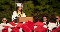 Valedictorian Emily Dionne addresses her class during the 133rd Commencement Ceremony at Laconia High School Friday evening.  (Karen Bobotas/for the Laconia Daily Sun)Laconia High School commencement ceremony June 10, 2011.