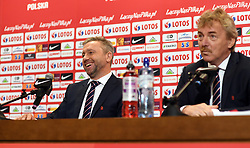 WARSAW, July 24, 2018  Newly appointed head coach of the Polish national football team Jerzy Brzeczek (L) attends a press conference in Warsaw, Poland, July 23, 2018. (Credit Image: © Maciej Gillert/Xinhua via ZUMA Wire)