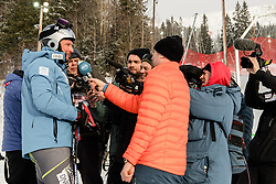 February 8, 2019 - Re, SWEDEN - 190208 Aksel Lund Svindal of Norway s interviewed by media at the downhill training during the FIS Alpine World Ski Championships on February 8, 2019 in re  (Credit Image: © Daniel Stiller/Bildbyran via ZUMA Press)