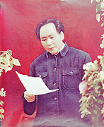 Mao Tse-Tung (Mao Zedong) 1893-1976, Chinese Communist leader.  Mao reading report  to 7th Congress of the Chinese Communist Party, 1945.