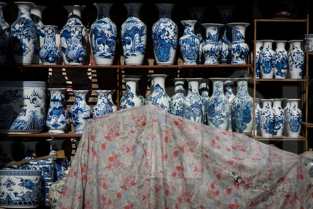 Chinese-style vases displayed outside a retail shop in Bat Trang ceramic village, Hanoi outskirts, Vietnam, Southeast Asia