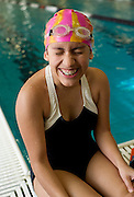 Aylin Marsteller, 14, is legally blind, seeing only through her peripheral vision after a traumatic accident. That doesn't stop her from learning new things in the pool, where she seems to prefer the butterfly stroke.