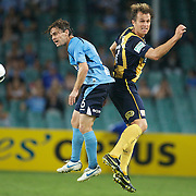 Karol Kisel (left) and Dylan MaCallister in action during the Sydney FC V Central Coast Mariners A-League match at the Sydney Football Stadium, Sydney, Australia, 23 December 2009. Photo Tim Clayton