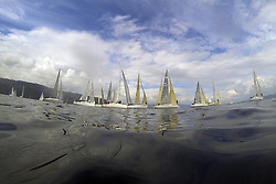The Silvers Marine Scottish Series 2014, organised by the  Clyde Cruising Club,  celebrates it's 40th anniversary.<br /> <br /> Fleet, Start<br /> <br /> Final day racing on Loch Fyne from 23rd-26th May 2014<br /> <br /> Credit : Marc Turner / PFM