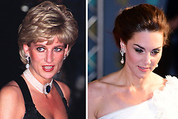 Composite image of (left to right) file photo dated 20/11/95 of the Princess of Wales at Bridgewater House, London, and Duchess of Cambridge, tonight, attending the 72nd British Academy Film Awards, wearing the same pair of pearl drop earrings.