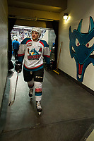 KELOWNA, CANADA - APRIL 8: Gordie Ballhorn #4<br />  of the Kelowna Rockets heads for the dressing room after warm up against the Portland Winterhawks on April 8, 2017 at Prospera Place in Kelowna, British Columbia, Canada.  (Photo by Marissa Baecker/Shoot the Breeze)  *** Local Caption ***