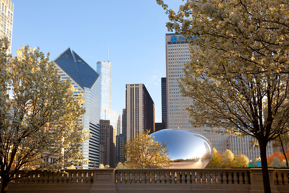 Chicago, Illinois, United States - May 06, 2011: Skyline of buildings at Millennium Park at downtown.