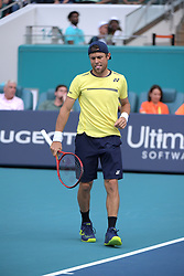 March 23, 2019 - Miami Gardens, Florida, United States Of America - MIAMI GARDENS, FLORIDA - MARCH 23:  Radu Albot looks miserable in the bright light even with her shades on. Day 6 of the Miami Open Presented by Itau at Hard Rock Stadium on March 23, 2019 in Miami Gardens, Florida..People: Radu Albot. (Credit Image: © SMG via ZUMA Wire)