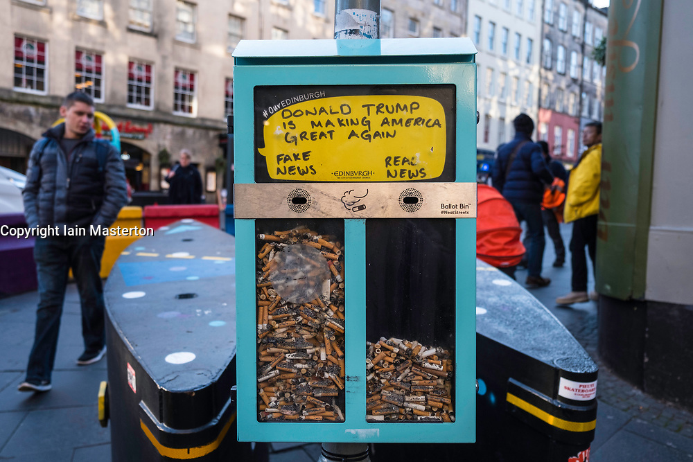 Ballot Bin using cigarette butts/ends to allow voting on street on Royal Mile in Edinburgh, Scotland, United Kingdom